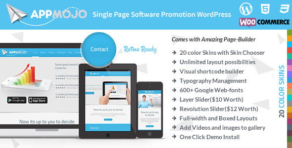 قالب اپ موجو | App Mojo - قالب تک صفحه و وبلاگ