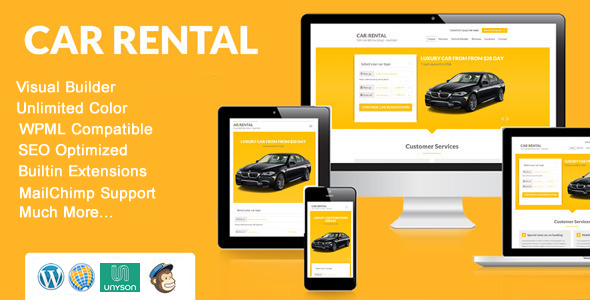 قالب Car Rental - صفحه فرود قالب وردپرس