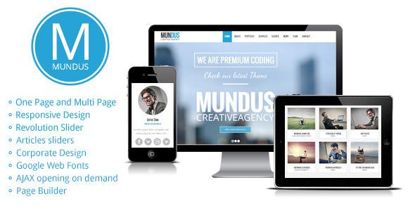 قالب Mundus - قالب سایت تک صفحه ای شرکتی