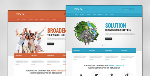 Twins - قالب وردپرس کسب و کار شرکتی