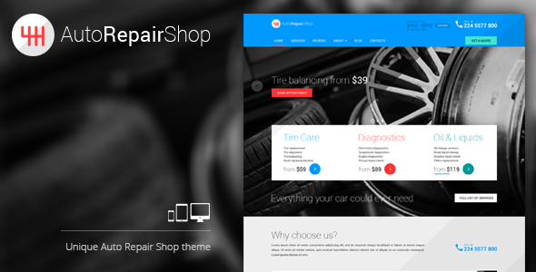 قالب AutoRepairShop - قالب وردپرس مکانیک خودرو
