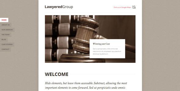 قالب Lawyered Group - قالب وردپرس تک صفحه ای رتینا ساپورت
