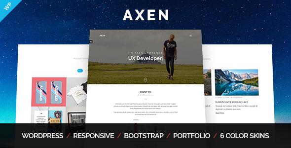 قالب Axen - قالب وردپرس نمونه کار شخصی