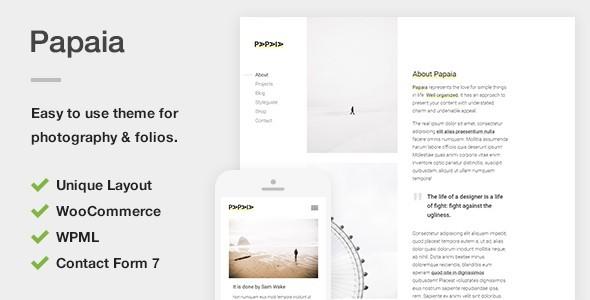 قالب Papaia - قالب وردپرس عکاسی و نمونه کار