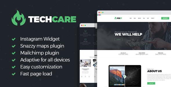 قالب TechCare - قالب سایت تعمیر لوازم الکترونیکی