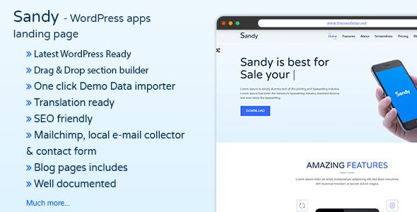 قالب Sandy - قالب وردپرس لندینگ اپلیکیشن