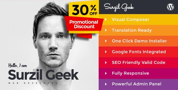 قالب Geek - پوسته وردپرس رزومه شخصی و نمونه کار