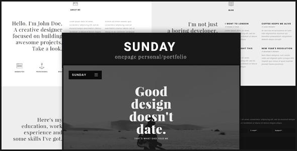 قالب Sunday - پوسته وردپرس تک صفحه ای شخصی و نمونه کار