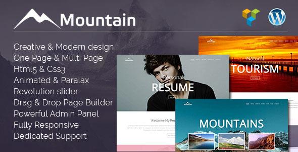 قالب Mountain - قالب وردپرس تک صفحه ای خلاق