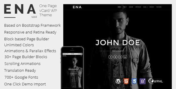 قالب ENA - قالب وردپرس کارت مجازی