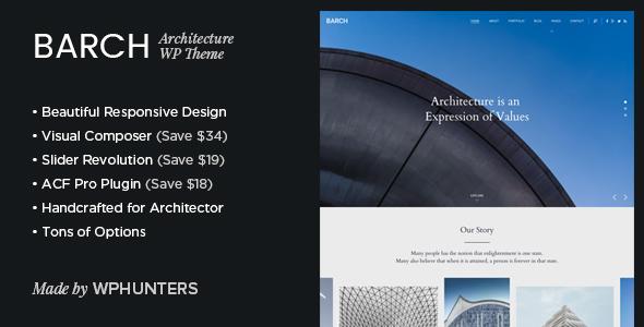 قالب Barch - قالب سایت نمونه کارهای معماری برای وردپرس