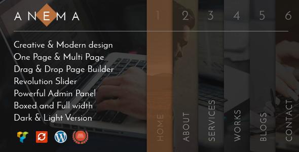 قالب Anema - قالب وردپرس تک صفحه ای و چند منظوره خلاق