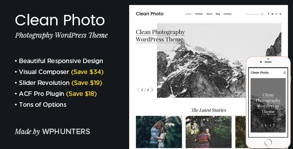 قالب Clean Photo - قالب وردپرس نمونه کار عکاسی