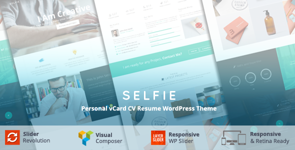 قالب Selfie - قالب وردپرس نمونه کار و کارت ویزیت شخصی