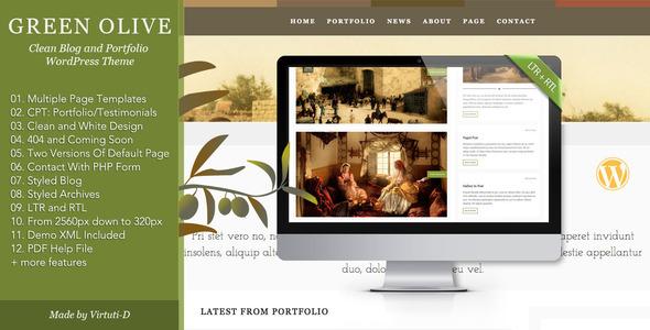 قالب Green Olive - قالب نمونه کار و بلاگ زیبا
