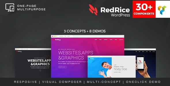 قالب RedRice - قالب چند منظوره وردپرس تک صفحه ای