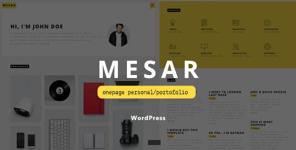 قالب Mesar - قالب وردپرس نمونه کار شخصی تک صفحه