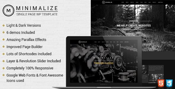 قالب Minimalize - قالب وردپرس تک صفحه ای