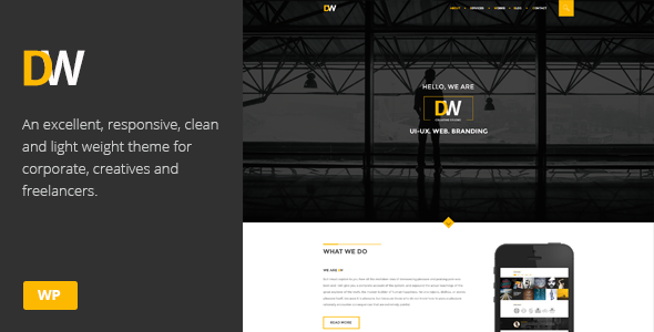 قالب DW - قالب وردپرس تک صفحه ای خلاقانه