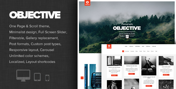 قالب Objective - قالب وردپرس نمونه کار عکاسی