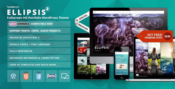 قالب Ellipsis - قالب وردپرس نمونه کار تمام صفحه