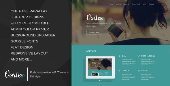قالب Vortex - قالب وردپرس تک صفحه ای پارالاکس