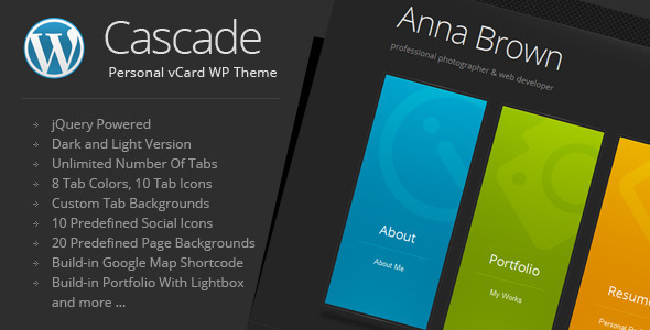 قالب Cascade - قالب وردپرس کارت ویزیت شخصی