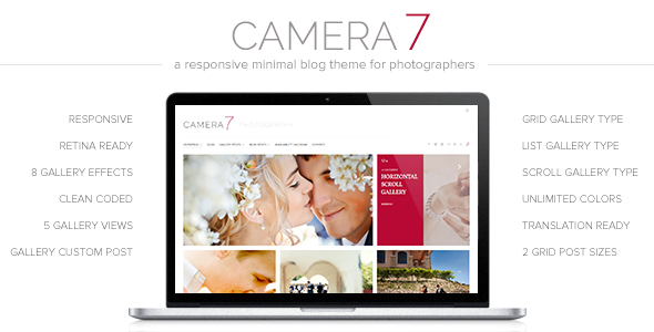 قالب Camera 7 - قالب وردپرس عکاسی مینیمال