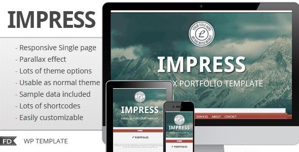 قالب Impress - قالب تک صفحه ای وردپرس