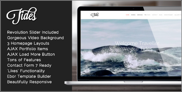 Tides - قالب وردپرس تک صفحه ای ویدئو