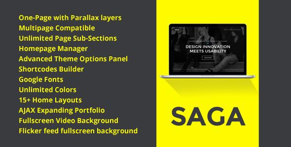 قالب SAGA - قالب وردپرس نمونه کار تک صفحه ای