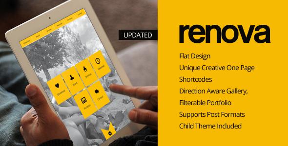 قالب RENOVA - قالب وردپرس نمونه کار تک صفحه ای