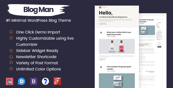 Blogman - قالب وردپرس وبلاگی مینیمال