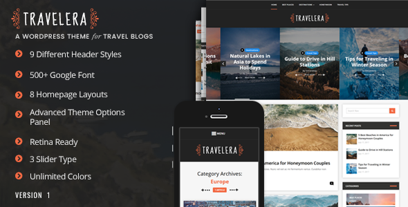 Travelera - قالب وردپرس وبلاگ گردشگری