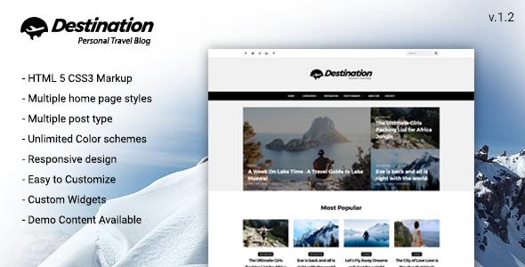 قالب Destination - قالب وردپرس وبلاگی مسافرت