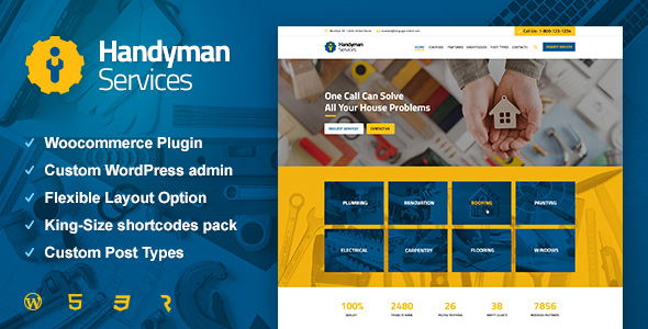 قالب Handyman Services - قالب وردپرس ساخت و ساز و نوسازی
