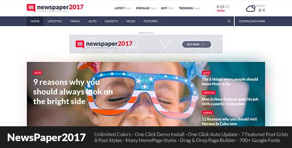 قالب NewsPaper2017 - قالب وردپرس برای سایت مجله خبری