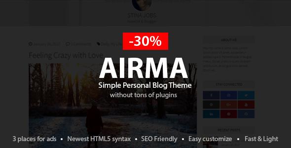 قالب Airma - قالب وردپرس وبلاگ شخصی