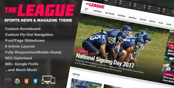 قالب The League - قالب وردپرس خبری و مجله ای ورزشی