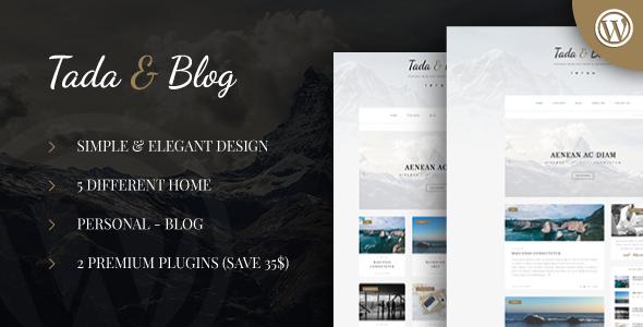 قالب Tada & Blog - قالب وردپرس بلاگ شخصی