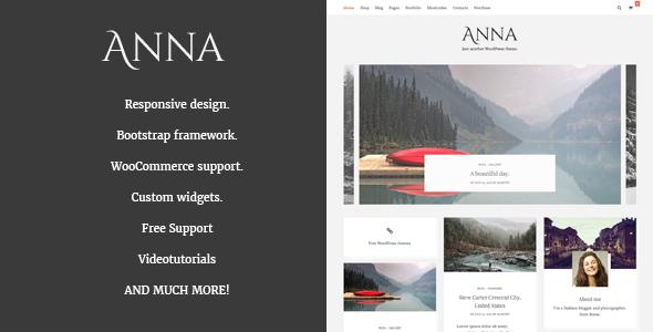 Anna - قالب وردپرس وبلاگ و فروشگاه ساده