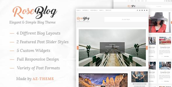 قالب Rose - قالب وبلاگ زیبا و ساده وردپرس
