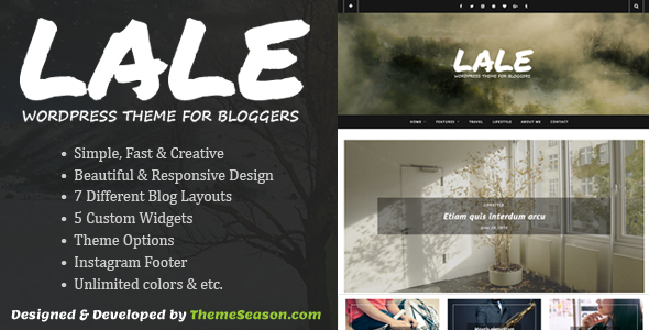 قالب Lale - قالب وردپرس وبلاگ نویسان