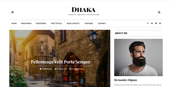 قالب Dhaka - قالب وبلاگ وردپرس ریسپانسیو