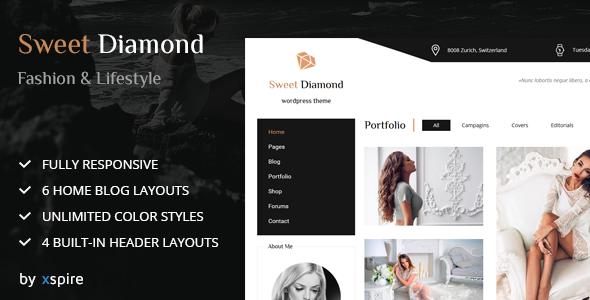 قالب Sweet Diamond - قالب شخصی مد و سبک زندگی