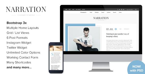قالب Narration - قالب وبلاگ وردپرس