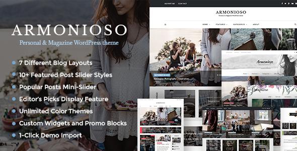 Armonioso - قالب وبلاگی شخصی و مجله ای وردپرس
