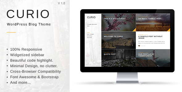 قالب Curio - قالب وبلاگی مینیمال وردپرس