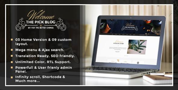 قالب Pick - قالب وبلاگ وردپرس