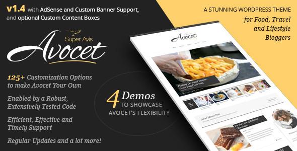 قالب Avocet WordPress Blog Theme - قالب وبلاگ نویسان سبک زندگی، غذا، مسافرت و مد